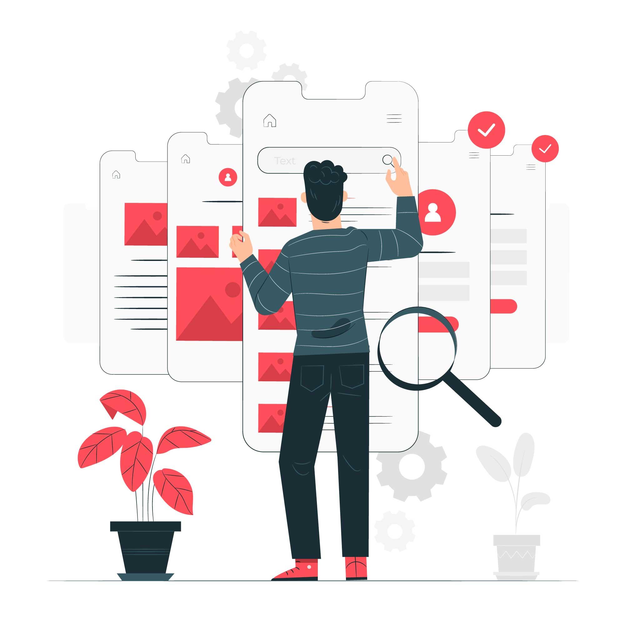 Digital marketing. Man-searching-on a big screen-illustration